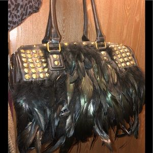 Handbags - Feather and studded purse